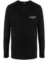 schwarzes Langarmshirt mit einer Knopfleiste von Balmain