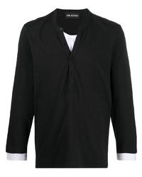 schwarzes Langarmshirt mit einer Knopfleiste von Neil Barrett