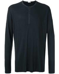 schwarzes Langarmshirt mit einer Knopfleiste von OSKLEN