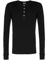 schwarzes Langarmshirt mit einer Knopfleiste von Schiesser