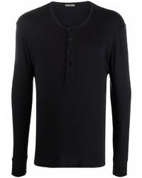 schwarzes Langarmshirt mit einer Knopfleiste von Tom Ford