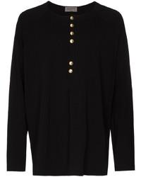 schwarzes Langarmshirt mit einer Knopfleiste von Yohji Yamamoto