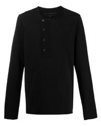 schwarzes Langarmshirt mit einer Knopfleiste von Ziggy Chen
