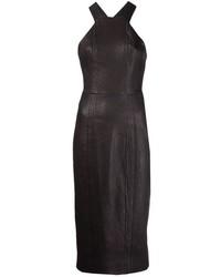 schwarzes Leder figurbetontes Kleid