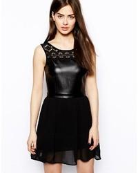 schwarzes Leder Skaterkleid von Glamorous