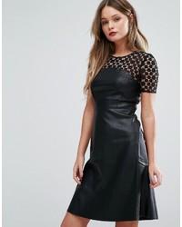 schwarzes Leder Skaterkleid von Vero Moda