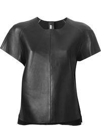 schwarzes Leder T-Shirt mit einem Rundhalsausschnitt