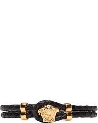 schwarzes Lederarmband von Versace