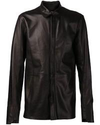 schwarzes Lederlangarmhemd