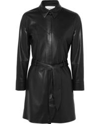 schwarzes Ledershirtkleid