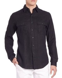 schwarzes Leinen Langarmhemd