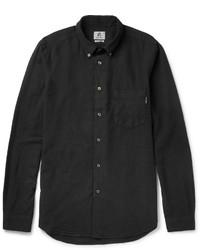 schwarzes Leinen Langarmhemd von Paul Smith