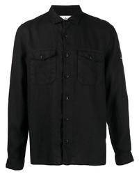 schwarzes Leinen Langarmhemd von Stone Island