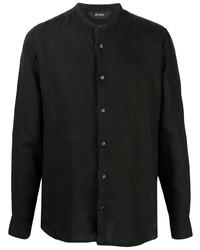 schwarzes Leinen Langarmhemd von Z Zegna