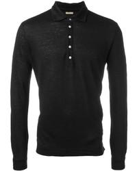 schwarzes Leinen Polohemd von Massimo Alba
