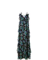 schwarzes Maxikleid mit Blumenmuster von MSGM