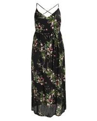 Schwarzes Maxikleid mit Blumenmuster von New Look