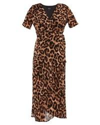 Schwarzes Maxikleid mit Leopardenmuster von Bardot