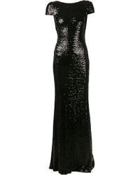 schwarzes Pailletten Ballkleid von Badgley Mischka