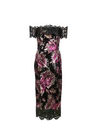 schwarzes Paillette Etuikleid mit Blumenmuster von Marchesa Notte