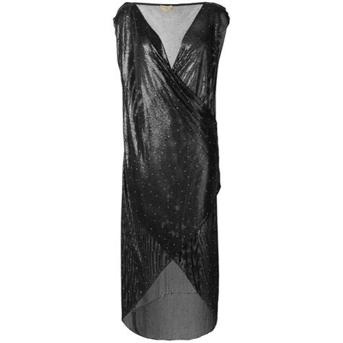 schwarzes Pailletten Etuikleid von Versace Vintage