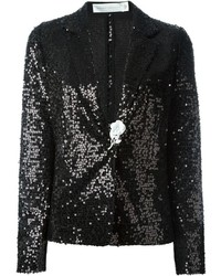 schwarzes Paillettensakko von Victoria Beckham