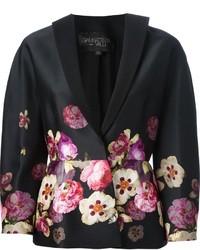 schwarzes Sakko mit Blumenmuster
