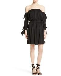 schwarzes schulterfreies Kleid aus Seide