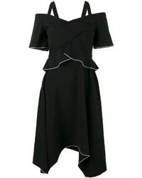 schwarzes schulterfreies Kleid aus Seide von Proenza Schouler