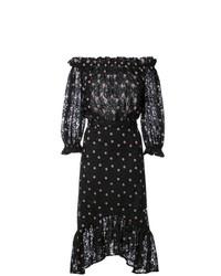 schwarzes schulterfreies Kleid aus Tüll mit Blumenmuster von Saloni