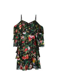 schwarzes schulterfreies Kleid mit Blumenmuster von Alice + Olivia