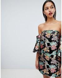 schwarzes schulterfreies Kleid mit Blumenmuster von ASOS DESIGN