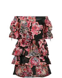 schwarzes schulterfreies Kleid mit Blumenmuster von Christian Pellizzari