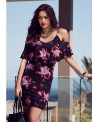 schwarzes schulterfreies Kleid mit Blumenmuster von Melrose