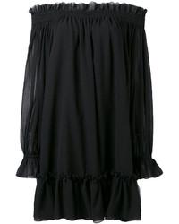 schwarzes schulterfreies Kleid von Alexander McQueen