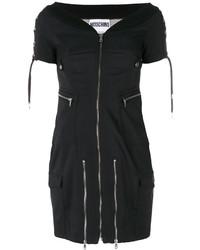 schwarzes schulterfreies Kleid von Moschino
