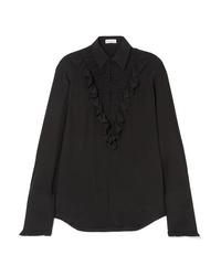 schwarzes Seide Businesshemd mit Rüschen von Sonia Rykiel
