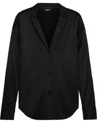 schwarzes Seide Businesshemd von DKNY