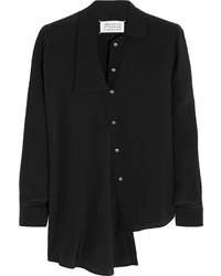 schwarzes Seide Businesshemd von Maison Margiela