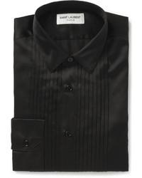 schwarzes Seide Businesshemd von Saint Laurent