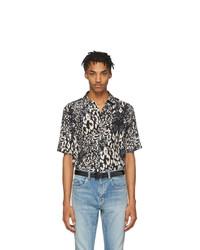 schwarzes Seide Kurzarmhemd mit Leopardenmuster von Saint Laurent