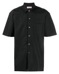 schwarzes Seide Kurzarmhemd von Alexander McQueen
