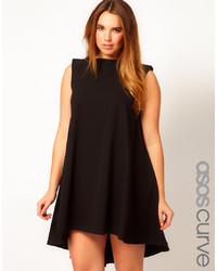 schwarzes Seide schwingendes Kleid von Asos Curve
