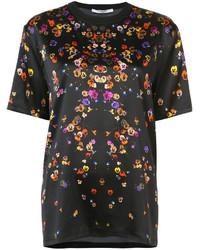 schwarzes Seide T-shirt mit Blumenmuster von Givenchy