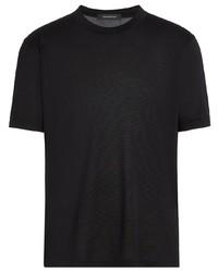 schwarzes Seide T-Shirt mit einem Rundhalsausschnitt von Ermenegildo Zegna