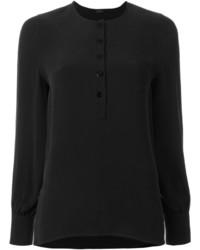 schwarzes Seide T-shirt mit einer Knopfleiste von Joseph