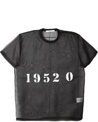 schwarzes Seide T-Shirt mit einem Rundhalsausschnitt
