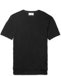 schwarzes Seide T-Shirt mit einem Rundhalsausschnitt von Maison Margiela