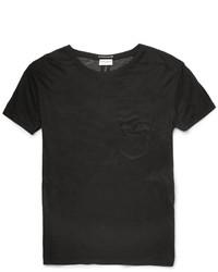 schwarzes Seide T-Shirt mit einem Rundhalsausschnitt von Saint Laurent