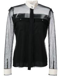 schwarzes Seidehemd von Lanvin